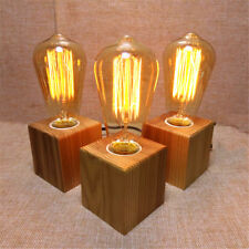 Vintage Retro Industrial Dining Light Edison Coffee Desk Wood Table Bedside Lamp