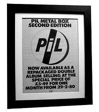 PIL+PUBLIC IMAGE+Metal Box+POSTER+AD+RARE ORIGINAL 1980+FRAMED+FAST GLOBAL SHIP