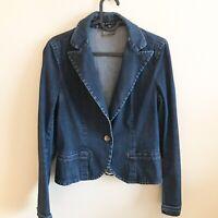 Theory Womens Button Long Sleeve  Blazer Blue Denim Jean Jacket Size S EUC