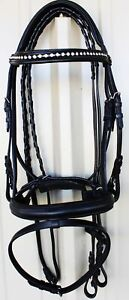 Horse English Padded Leather Show Bridle Crystal Bling  Full 803MT11F