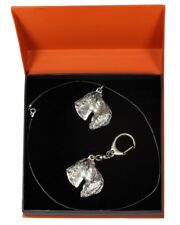 Kerry Blue Terrier - necklace, keyring, set with a dog in orange box, ArtDog Usa