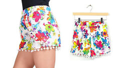 Pom pom fringed shorts! High waist, elastic band, Lily Flowers - 3 sizes s/m/l