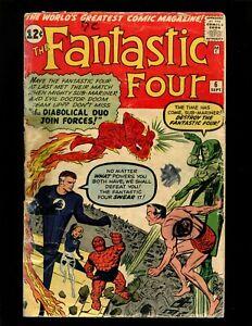 Fantastic Four #6 GD 2nd S.A. Sub-Mariner 2nd Dr Doom 1st Marvel Villain Team-Up