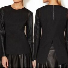 STELLA & JAMIE Black Leather Mesh Long Sleeve Top Blouse Women's SMALL