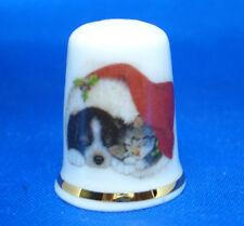 Birchcroft China Thimble -- Sleeping under Santa's Hat -- Free Dome Box