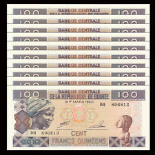 Lot 10 PCS, Guinea 100 Francs, 2012, P-35b, UNC