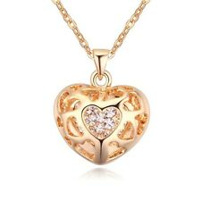 GORGEOUS 18K YELLOW GOLD PLATED & GENUINE CZ & AUSTRIAN CRYSTAL HEART NECKLACE