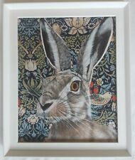 Original wildlife hare picture painting William Morris art Nouveau style fabric