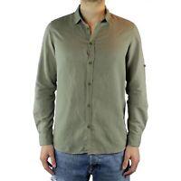 Camicia Uomo Lino Verde Slim Fit Manica Lunga Estiva Sartoriale Elegante Casual