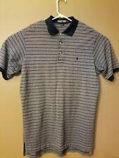 Ralph Lauren Mens Large Navy Grey Striped Golf Polo Short Sleeve Shirt
