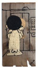 Vintage 1960s Nude Figures Original American (MA) Yarn Art Painting Signed Chick