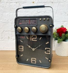 Industrial Table Clock Vintage Retro Radio Style Rustic Metal Desk Furniture