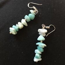 Russian Amazonite chips beads  earrings  sterling silver 925