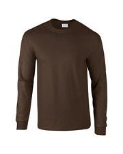 Gildan Ultra Cotton Mens Long Sleeve Causual T-shirt M Dark Chocolate
