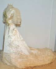 WORTH Victorian 1890's Satin Lace Wedding Gown w Wax Flowers SM