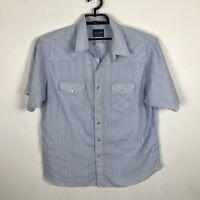 Vintage Wrangler Western Shirt Mens Size XL Blue Striped Short Sleeve Pearl Snap