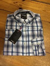 Remus Uomo Fashion Short Sleeve Check Shirt/Blue - Small