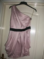 LIPSY NUDE PINK SATIN STYLE DRAPE SIDE ONE SHOULDER BLACK STRAP TRIM PARTY DRESS