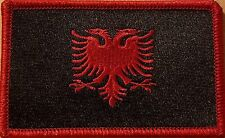 Albania Flag Embroidered Iron-On Patch Morale Tactical Black Version Red Border
