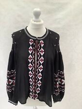 New Look, Ladies Black Embroidered Tie Neck Open Front Blouse Jacket, Size 10