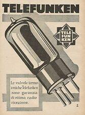 Y0328 Valvole Termoioniche Telefunken - Pubblicità d'epoca - Advertising
