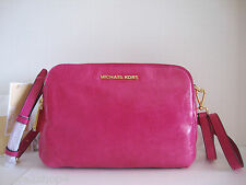 Michael Kors Alexis Fuschia Leather Medium Messenger Cross-body Bag NWT