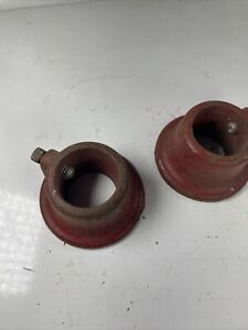 """Vintage Pair York Barbell Standard 1"""" Bar Red Heavy Cast Iron Weight Collars"""