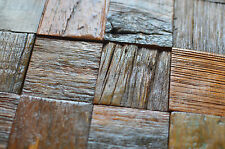 Wood Mosaic Panels For Wall, Solid Reclaimed Wood Tiles, Decor For Pub, Cafe etc