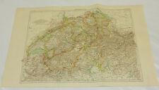 1887 Antique COLOR Map/ SWITZERLAND /10x16""