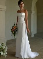 New Stock White Ivory Chiffon Wedding Dress Bridal Gown Size:6 8 10 12 14 16 18