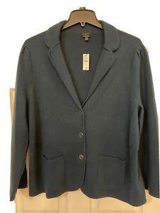 NWT Talbots Women Sze 2X Pure 100% Merino Wool Sweater Jacket Green Color