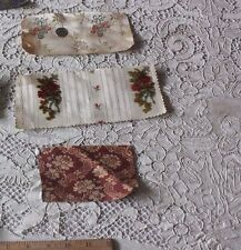 3 Small Collectors'/Dolls&#0 39; Samples Of Antique French 18thC Silk Brocades Fabrics