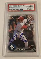 Dylan Carlson Signed 2016 1st Bowman Draft Cardinals Card RC (10) Auto + PSA COA