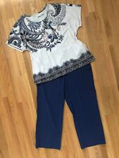 Women's Chico's Zenergy Outfit: 3.0 (16) Top; 2.0 (12) Pants. Nwot Necklace. Euc