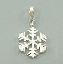 Snowflake-FROZEN-Navidad-Maciza 925 Plata Encanto/Colgante Clip
