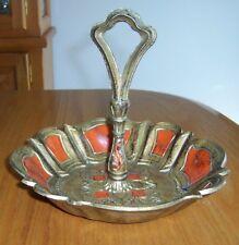 Ornate Italian Florentine Gold Orange Tole Handled Tidbit Appetizer Tray Plate