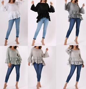 Ladies Womens Italian Linen Oversized Summer Peplum Frill Hem Tunic Top Blouse