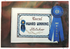 Counted Cross Stitch Chart AWARD WINNING (Stitcher) w/ Alphabet & Blue Ribbon