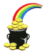 Pot Of Gold - Rainbow - Irish - Luck - Embroidered Iron On Applique Patch
