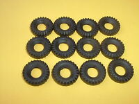 DINKY TOY TYRES - 12 NEW  18MM BLACK CHUNKY REPLACEMENT TYRES