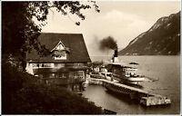 Schiffe ~1930 Schweiz Binnenschiffe Dampfer am Gasthaus Treib Vierwaldstättersee