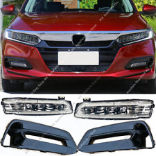 Gloss Black Bumper Bezels Fog Driving LED Lights OEM For Honda Accord 2018 2019
