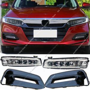 Gloss Black Bumper Bezels Fog Driving LED Lights OEM For Honda Accord 2018 2020