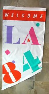 """Rare Mint Vintage 1984 Los Angeles Olympics Banner, 67"""" x 31.5"""", Large Size"""