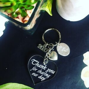 Wedding favour Keyring Thank you for sharing our day heart Keychain guest gift