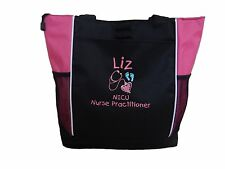 TOTE BAG Personalized Zippered Nurse RN ER NICU Baby Mother Neonatal BSN OBGYN