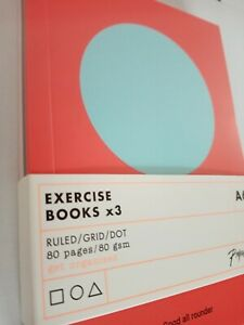 A6 Set of 3 EXERCISE BOOK NOTEBOOKS MIXED VARIETY PACK RULED DOTS SQUARE GRID