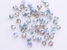 New 200pcs 4mm Bicone Faceted Crystal Glass Loose Spacer Beads Rose Green