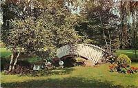 Michigan City Indiana~White Arch Footbridge @ Int'l FRiendship Gardens 1950s