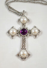 Vintage Sarah Coventry Cross Crucifix Pendant Faux Pearl Silvertone Purple Centr